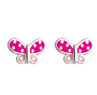 Pink Dotty Butterfly Stud Earrings