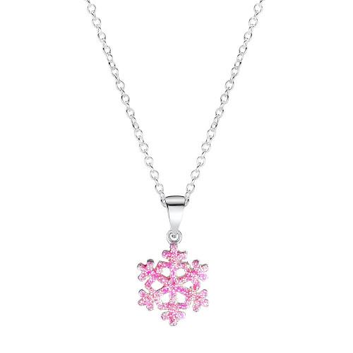 Girls Frozen Pink Snowflake Pendant