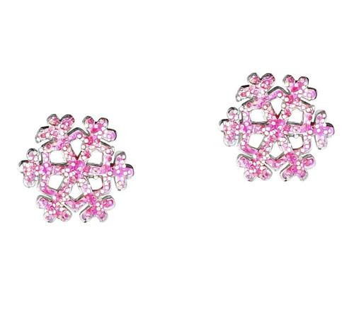 Pink Frozen girls glittery Snowflake Earrings