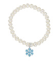 Girls Pearl and Blue Frozen Snowflake Bracelet