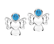 Blue cz angel earrings for girls