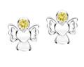 Girls yellow cz angel earrings