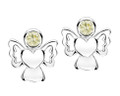 Girls peridot cz angel earrings