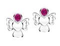 Girls ruby cz angel earrings
