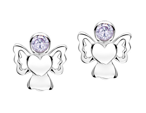 Girls lilac cz sparkly angel earrings