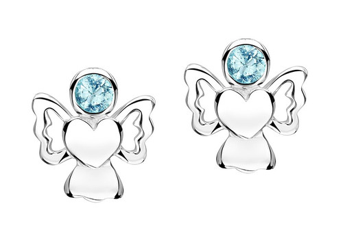 Aquamarine cz angel earrings for girls