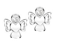 Girls sparkly cubic zirconia angel earrings