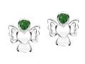 Girls green cz sparkly angel earrings