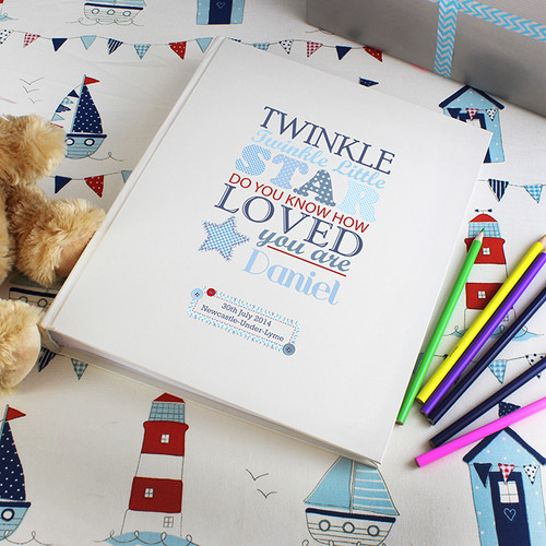 Personalised baby boy photo album - twinkle twinkle