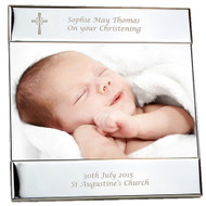 Personalised Silver Plated Square Cross Photo Frame