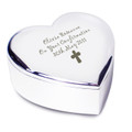 Personalisd trinket box, heart shaped with cross motif