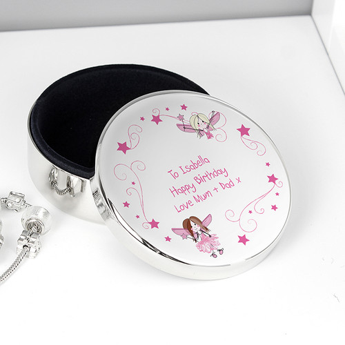 Personalised Pink Fairy Round Trinket