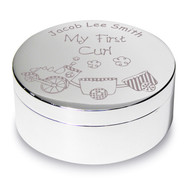 Personalised First Curl Pot with Train