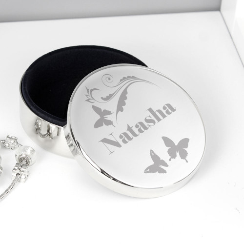 Personalised Butterfly Round Trinket