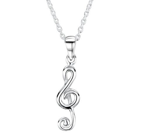 Silver Musical Note Necklace by Jo For Girls
