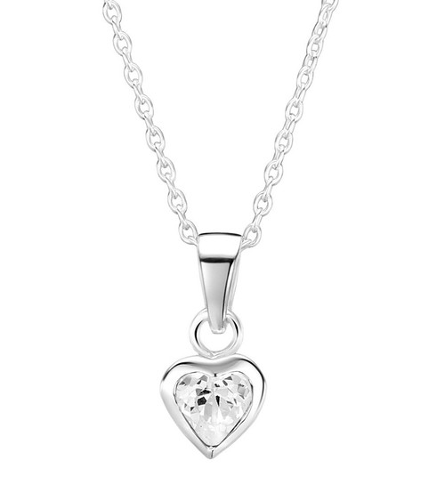 Girls silver cz heart necklace