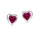 Girls ruby red cz sparkly heart earrings