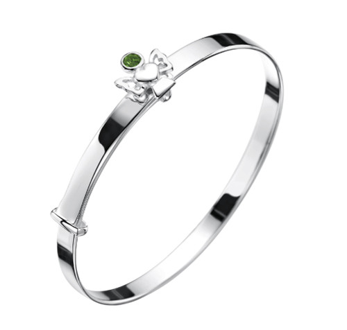 May birthstone silver bangle with emerald green cz