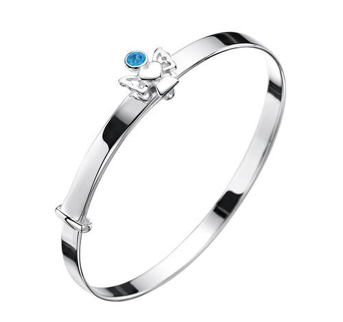 Girls December birthstone bracelet silver bangle