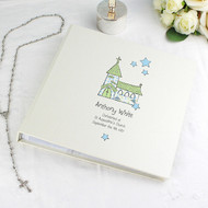 Personalised boy's christening photo album - blue church