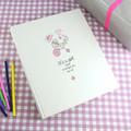 Personalised baby girl photo album - pink pram