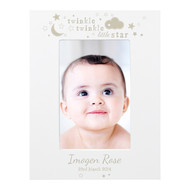 Personalised Twinkle Twinkle White Wood Photo Frame