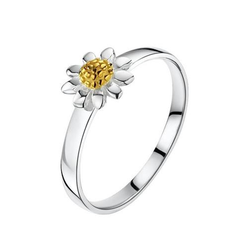 Girls Gold Daisy Silver Ring