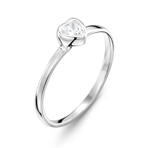 Girls Clear CZ Heart Ring