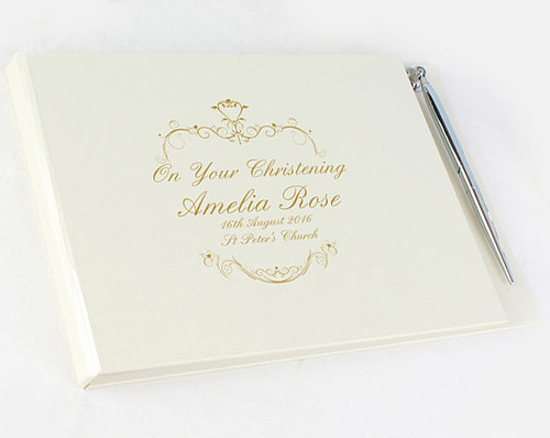 Personalised Christening Guest Book - gold swirl
