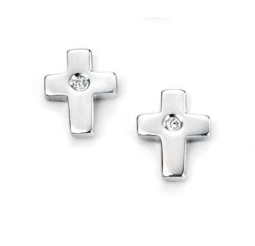 Girls Christening Cross Earrings