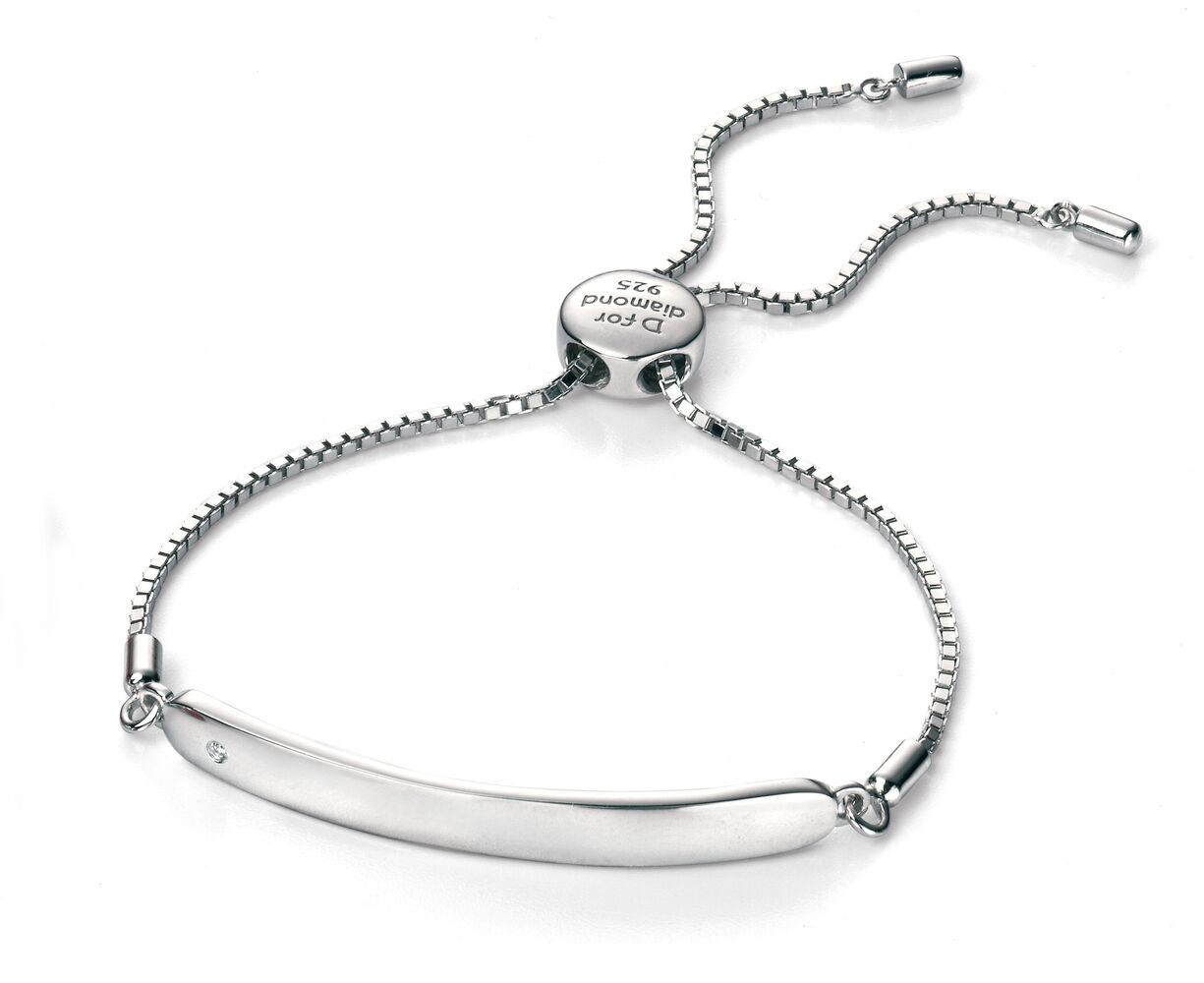 4601a1bd7f92ed D for Diamond Silver ID Chain Bracelet - B4788 - Diamond Kids