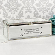 Personalised Hearts Mirrored Jewellery Box
