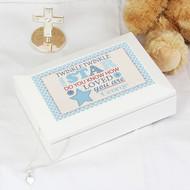 Personalised Twinkle Boys White Baby Keepsake Box