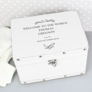 White Christening New Baby Keepsake Box