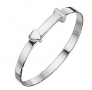 Silver Heart Baby Bangle B4667 - engravable