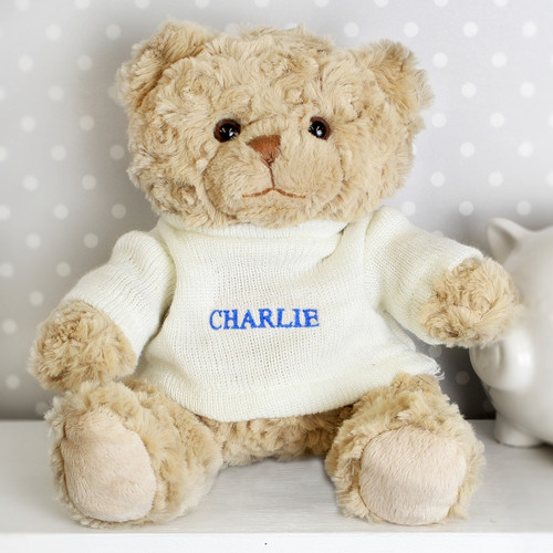 Personalised Blue Name Teddy Bear