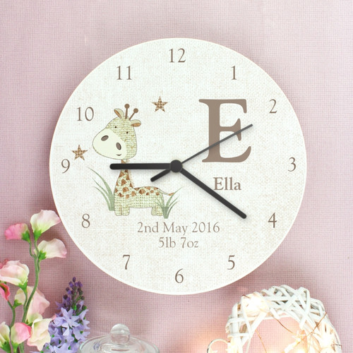 Personalised Nursery Clock with Giraffe
