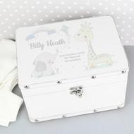 White baby keepsake box with cute baby animals