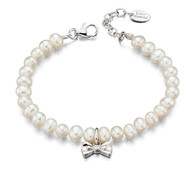 Little Girls Pearl Bracelet with Diamond Bow - B4890