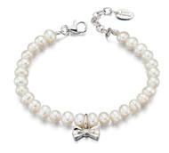 Little Girls Pearl Bracelet with Diamond Bow - B4890