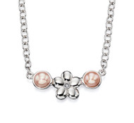 Girls pink pearl diamond flower necklace N4071