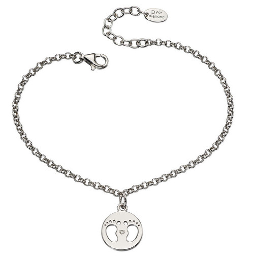 D for Diamond Made for Mum Footprint Bracelet B4945