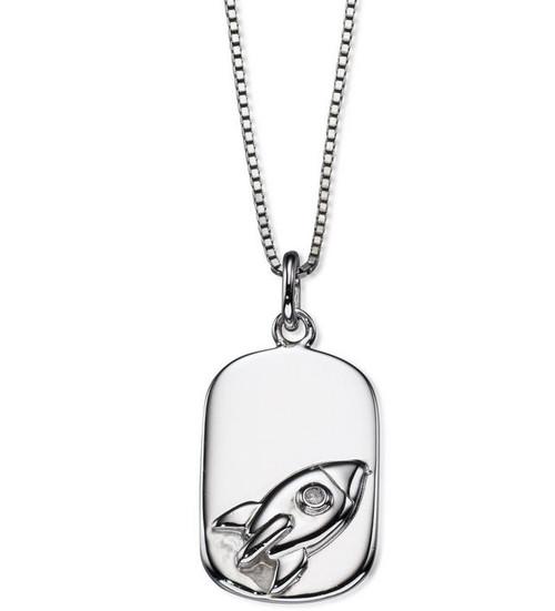 D for Diamond Boy's Silver Rocket Pendant - P4440