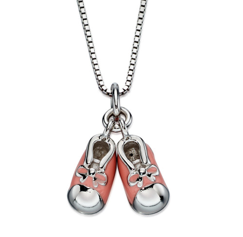 D for Diamond Girl's Pink Bootee Pendant - P4442