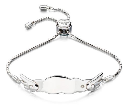 D for Diamond Silver Angel Wing Bracelet- B4877
