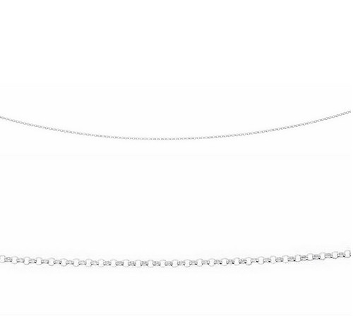 "sterling silver 16"" round belcher link chain N3188"