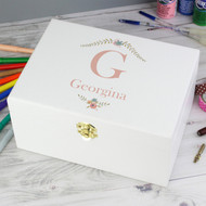 Personalised Pink Initial White Wooden Keepsake Box