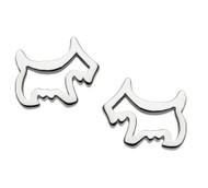 Girls silver scottie dog earrings