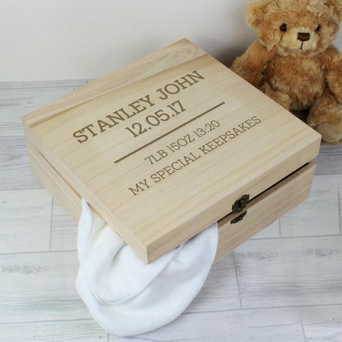 Personalised Natural Wood Keepsake Box