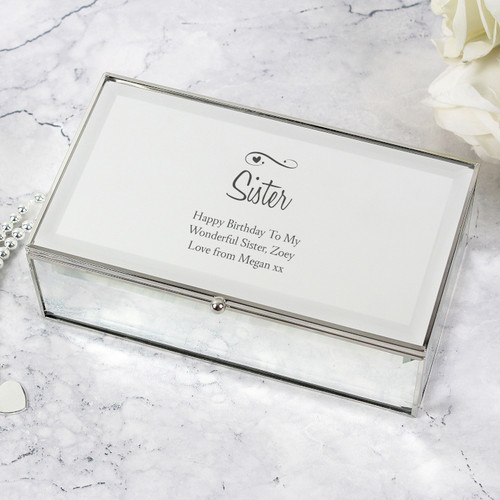 Personalised Mirrored Jewellery Box with Heart